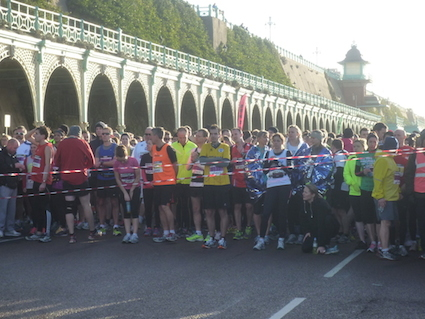 Start line of 11.5K runners at the Brighton Half Marathon